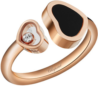 Chopard Happy Hearts Onyx & Diamond Open Ring in 18K Rose Gold, Size 52/53