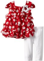 Rare Editions Baby Girls Infant Dot Cascade Ruffle Knit Legging Set
