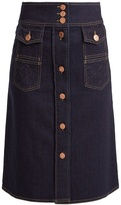 See by Chloe A-line cotton-blend denim skirt