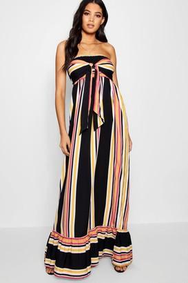 boohoo Tall Knot Front Stripe Maxi Dress