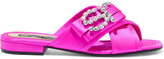 Thumbnail for your product : Sergio Rossi Sr Icona Embellished Neon Satin Mules