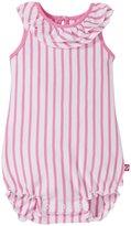 Zutano Breton Stripe Ruffle Bubble (Baby) - Hot Pink - 3 Months