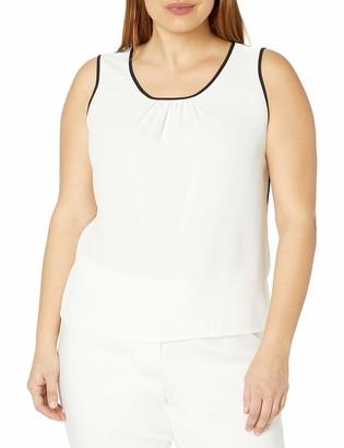 Anne Klein Women's Plus Size Pleat Front Woven Blouse