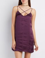Charlotte Russe Satin Strappy Slip Dress