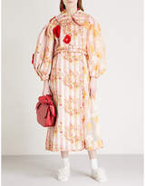 Simone Rocha Patchwork embroidered belted woven coat