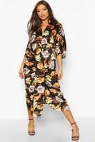 boohoo Satin Floral Batwing Midaxi Dress