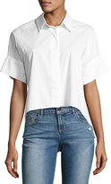 Alice + Olivia Edyth Short-Sleeve High-Low Drapey Button-Down Shirt, White
