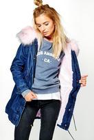 Boohoo Erin Boutique Denim Faux Fur Parka