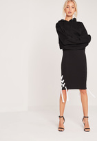 Missguided Chunky Lace Up Side Rib Midi Skirt Black