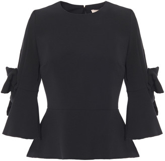 Roksanda Bow-embellished Stretch-crepe Peplum Top