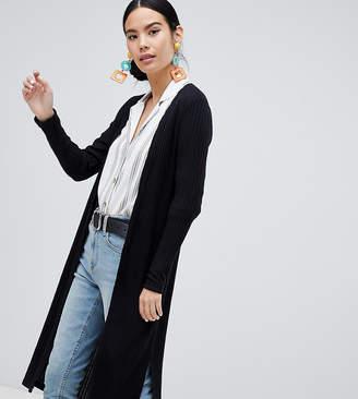New Look rib midi cardigan in black