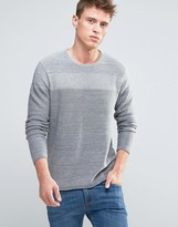 Esprit Knitted Jumper With Open Hem And Tonal Block Detail