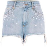 River Island Womens Blue embellished high waisted denim shorts