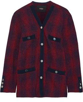 Maje Vero Grosgrain-trimmed Checked Jacquard-knit Cardigan