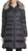Kate Spade Quilted Puffer Down Skirted Coat W/ Faux-Fur Collar