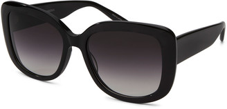 Barton Perreira Choupette Oversized Square Acetate Sunglasses, Black Smoke