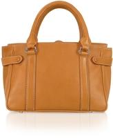 Side Snaps Calf Leather Satchel Bag