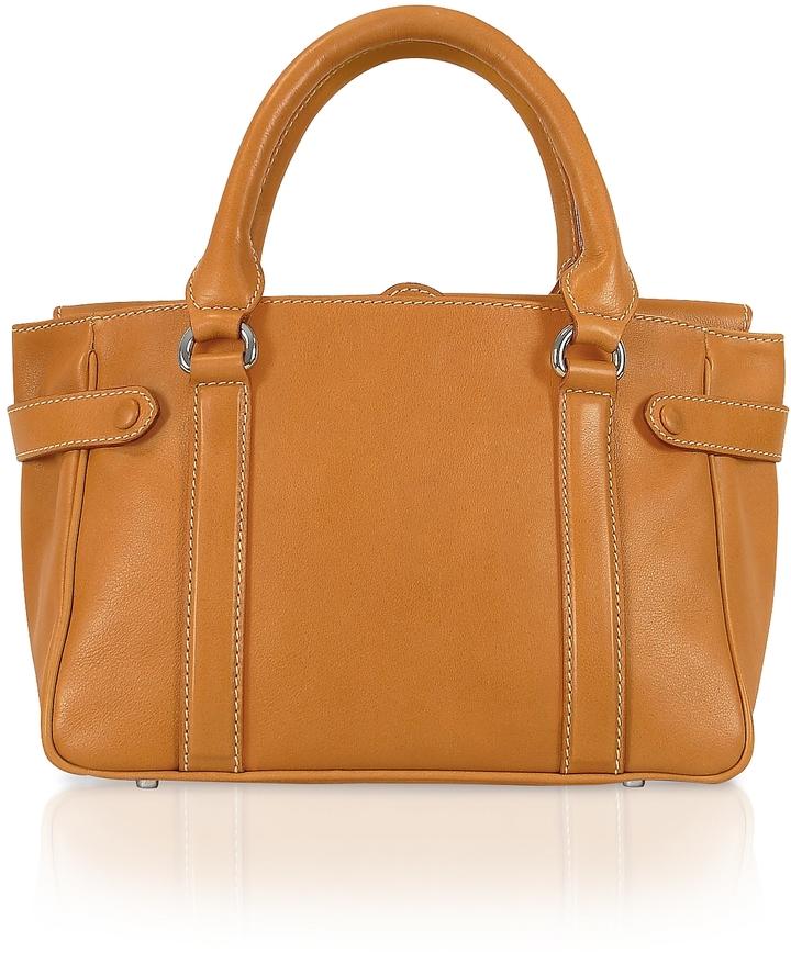 Buti Side Snaps Calf Leather Satchel Bag
