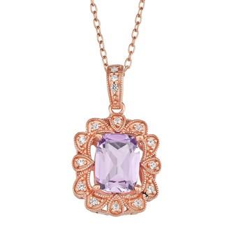 14k Rose Gold Over Silver Amethyst Frame Pendant Necklace