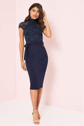 Lipsy Lace High Neck Midi Dress - 6 - Blue