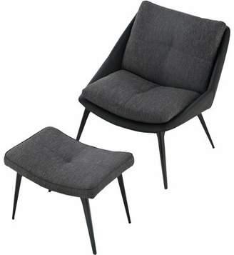 Modloft Black Columbus Lounge Chair with Ottoman Black Upholstery Color: Black/Dark Shadow, Leg Color: Black