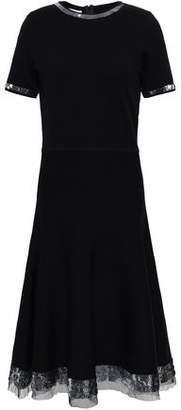 Oscar de la Renta Sequin-embellished Tulle-trimmed Wool Dress