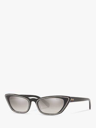 Miu Miu MU 10US Women's Stud Cat's Eye Sunglasses, Black
