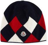 Moncler Berretto Argyle Beanie Hat, Navy
