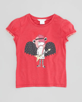 Little Marc Jacobs Bat Guitarist Printed Puff-Sleeve Tee, Red, Sizes 6-10