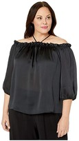 Vince Camuto Specialty Size Plus Size Off-Shoulder Halter Tie Neck Yoryu Satin Blouse (Rich Black) Women's Clothing