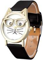 ABC Women's Watch, Women's Fashion Cute Glasses Cat Analog Quartz Watch Dial Wrist Watch