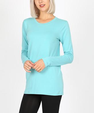 Ash Zenana Women's Tee Shirts  Mint Long-Sleeve Crewneck Tee - Women