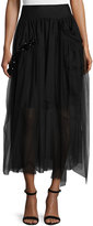 Simone Rocha Beaded Tulle Midi Skirt, Black
