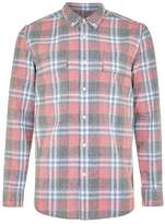 Topman Red and Navy Check Long Sleeve Shirt