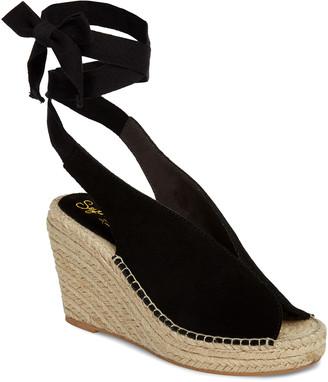 Seychelles Women's Sandals BLACK - Black Ankle-Tie Interrelated Suede Espadrille - Women