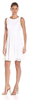 Sandra Darren Women's 1 Pc Sleeveless Floral Burnout Dress