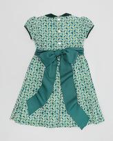 Oscar de la Renta Velvet-Trim Floral-Print Dress, 4Y-6Y