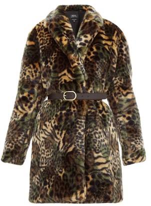A.P.C. Luisa Animal-print Faux-fur Coat - Womens - Khaki Multi