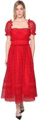Self-Portrait Hibiscus Guipure Midi Dress