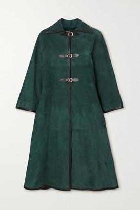 KHAITE Daisy Suede Coat - Green