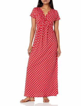 Star Vixen Women's Petite Short Sleeve Twist-Front Maxi Dress