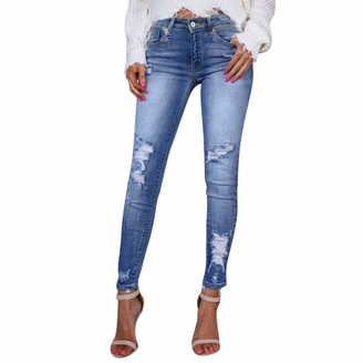 Wtouhe Women Jeans 2020 Hot on Sale New Fashion Skinny Ripped Jeans Trendy Ladies Sexy Casual Distressed Denim Pants Slim Hole Bottoms Pants for Party Club Evening Gift for Girlfriend Lover Wife