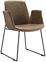 The Well Appointed House Faux Leather Brown Armchair with Steel Sled Base