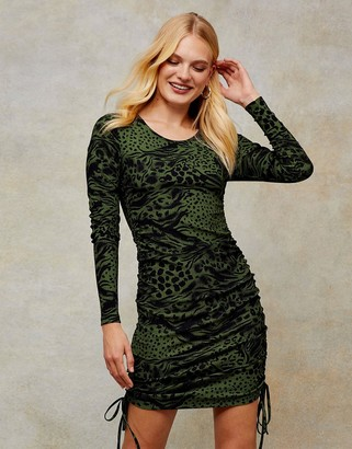 Topshop animal-print ruched side mini dress in green