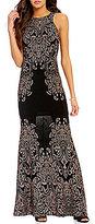Jump High Neck Glitter Scroll Pattern Long Dress