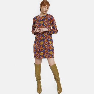 Compania Fantastica Graphic Print Mini Dress with Long Sleeves