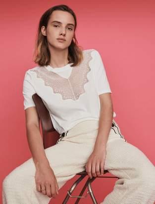 Maje Tee shirt with lace trim