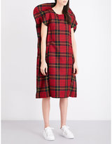 Comme des Garcons Sculptural wool-tartan dress