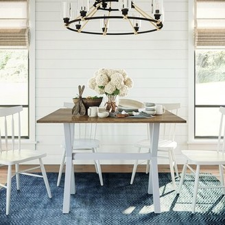 Wrought Studio Yorkshire Drop Leaf Solid Wood Dining Table Wrought Studio Base Color / Top Color: Antique White / Rustic Oak