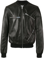 Les Hommes zips bomber jacket - men - Cotton/Lamb Skin/Polyester/Viscose - 48